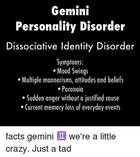 facts about mood swings gemini personality disorder dissociative identity disorder