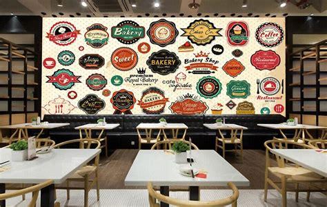 custom  retro wallpaper coffee wine restaurant icon