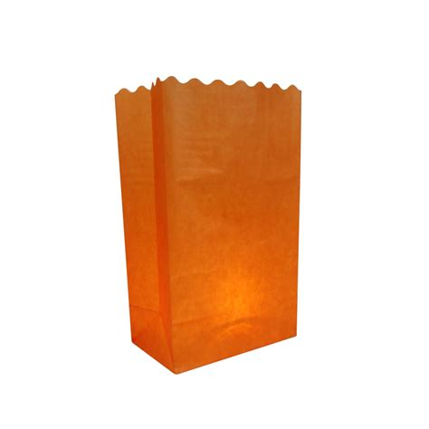 orange solid color luminarias paper craft bag 10 pack