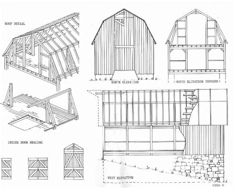 barn blueprints gable barn plans maine