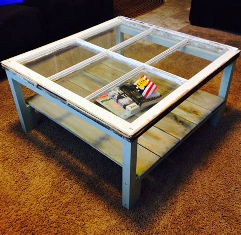 vintage window made into a coffee table you me