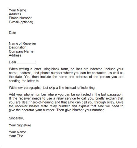 format for letter writing formal formal business letter format official letter sle