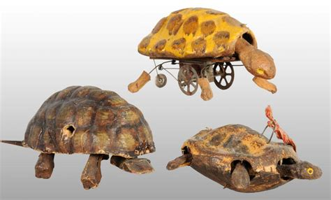 How To Make Paper Mache Toys - lot of 3 early papier mache turtle toys