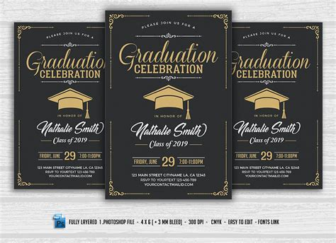 Graduation Celebration Flyer Flyer Templates Creative Market Celebration Flyer Template