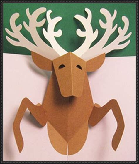 Reindeer Paper Crafts - reindeer pop up card free paper craft