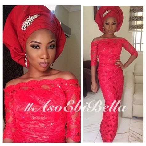pictures of latest blouse and wrapper bella naija red off shouldered lace blouse wrapper red gele aso