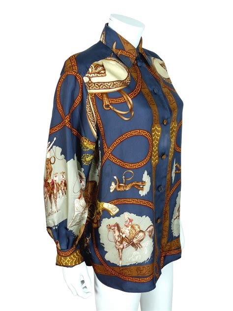Sale Blouse Import 7211 Retro Pattern hermes vintage quot charreada quot print silk shirt blouse for sale at 1stdibs