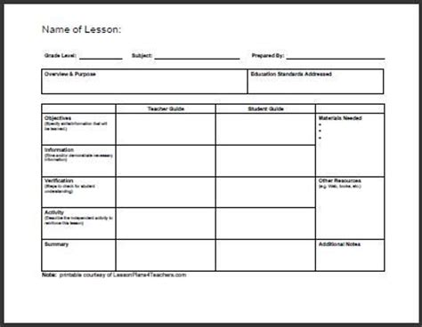 Lesson Plan Template For College Instructors daily lesson plan template 1 www lessonplans4teachers