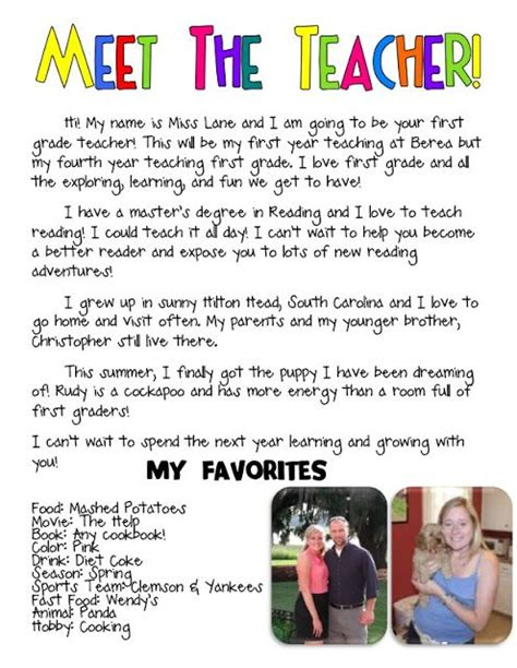 Introduction Letter Student To Parents Meet The Introduction Letter Days Of School About Me Teaching