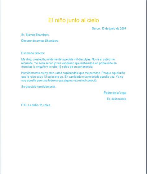 como hacer una carta formal carta formal del ni 241 o junto al cielo