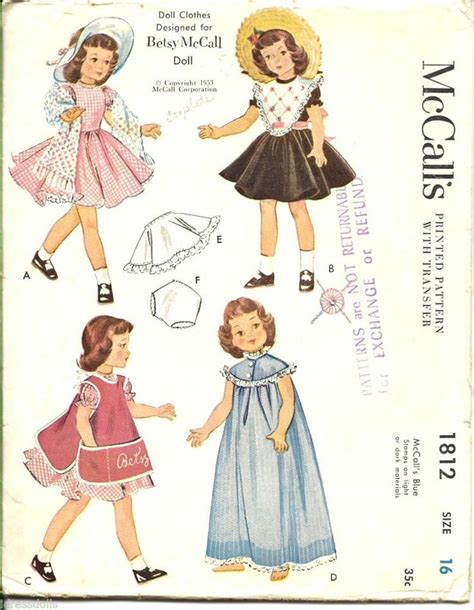 clothes pattern companies 16 quot betsy mccall doll clothes pattern 1953 mccalls 1812