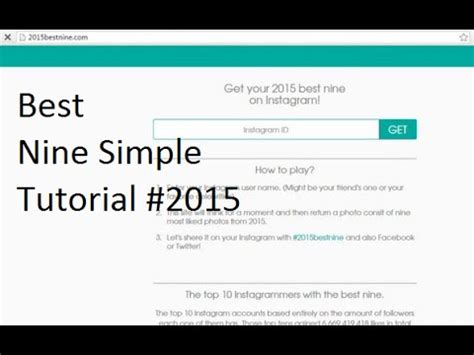 Tutorial Best Nine On Instagram | how to create generate best nine instagram 2015 youtube