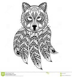 Dirigez Le Loup Ornemental Avec Dreamcatcher Ethnique Zentangled  sketch template