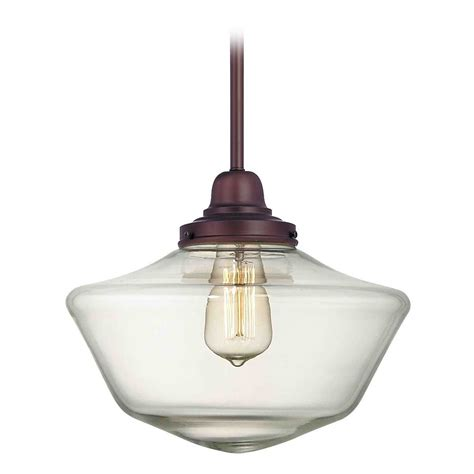 bronze glass pendant light 12 inch clear glass schoolhouse pendant light in bronze