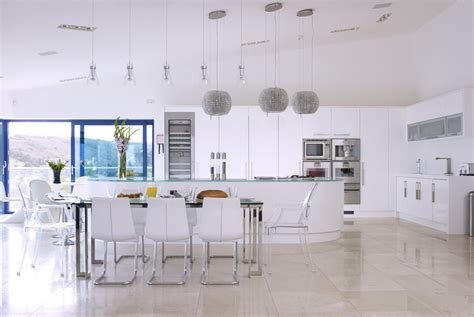 White Kitchen Island With Seating high gloss open plan kitchen from concept interiors
