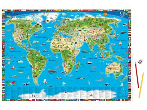 World Map Desk Pad by Desk Pad Illustrated Children World Map