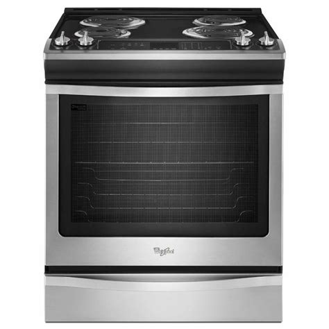 whirlpool 6 2 cu ft slide in electric range with self cleaning oven in stainless steel
