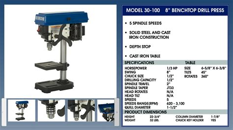 Rikon 30 100 8 Quot Drill Press