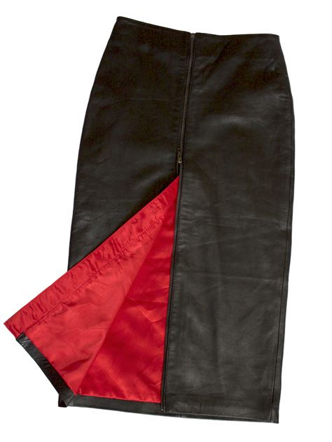 black leather pencil skirt rear zip mid calf midi