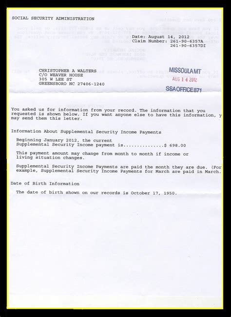 Award Letter From Ssa Social Security Awards Letter Russianbridesglobal