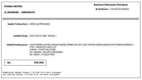cetak tagihan ke leasing program dealer motor l program dealer