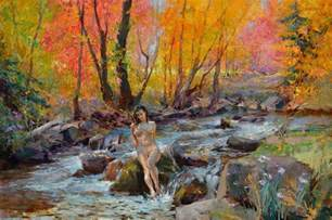 Painting Curtains Crystal Clear Creek Painting By Eric Kent Wallis