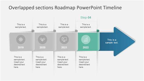 overlapped sections roadmap powerpoint timeline slidemodel