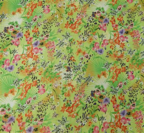 floral printed chiffon designer sheer light weight green fabric by the yard ebay