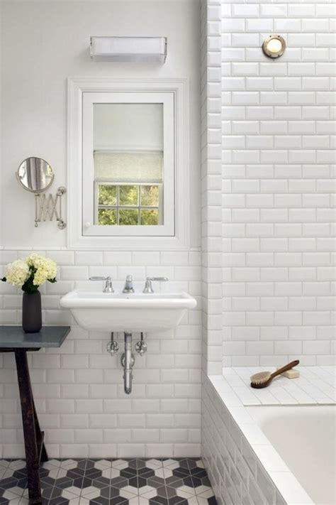 bathroom with subway tile look we love beveled subway tile apartment therapy