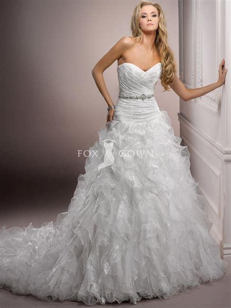 organza wedding dress with ruffles and swirls sang