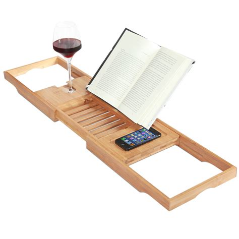 bathtub caddies expandable deluxe bamboo bathtub caddy with a bar
