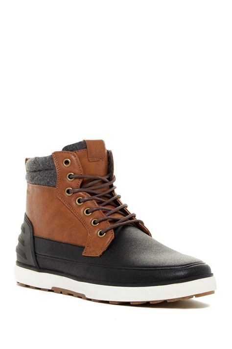 top boots for aldo euchariste leather mid top boots in black for lyst