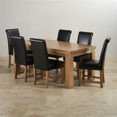 black dining sets with 6 chairs chunky dining set in oak 3ft 7 quot table 6 black chairs