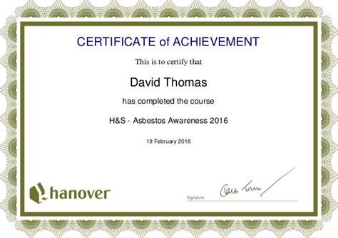 asbestos awareness certificate template asbestos awareness certificate 2016 php