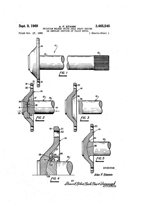 annular section patent us3465545 friction welded drive axle shaft having
