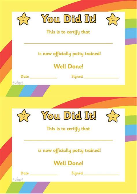 reward certificate templates potty certificate free printables classroom