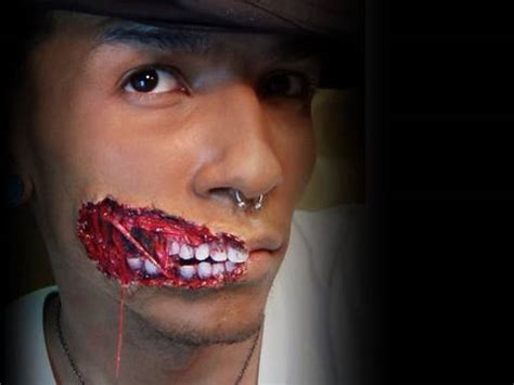 zombie scar tutorial gruesome exposed teeth and muscles tendons build up wound
