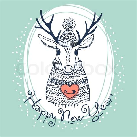 Antler Home Decor hand drawn vector illustration with cute deer happy new