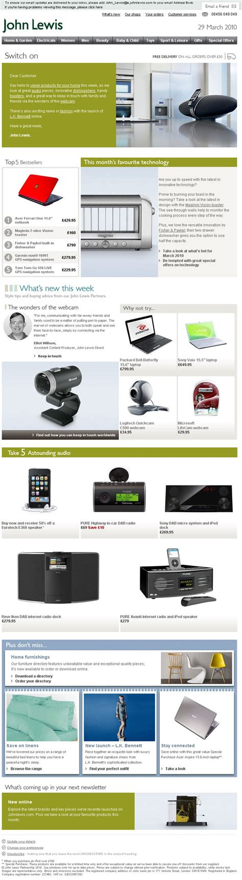 email format john lewis design inspiration 5 emails with beautiful product shots