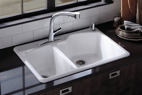 White Sink Kitchen Kohler K 5870 2 0 Wheatland Self Offset Basin Sink With 2 Faucet