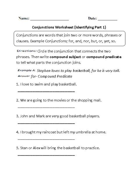 identifying theme worksheets lesupercoin printables conjunction practice worksheet conjunction worksheet 6