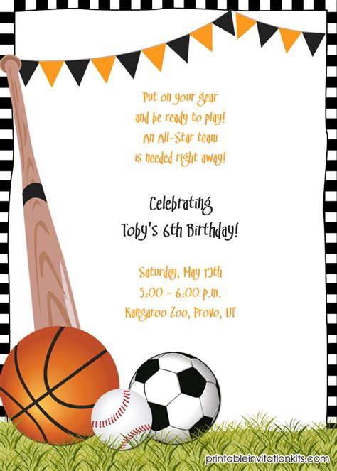 sports themed birthday invitations 40th birthday ideas themed birthday invitation templates free
