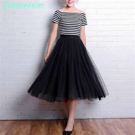 tulle tutu skirt black white grey mid calf gown