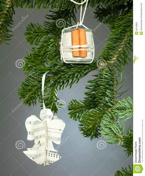 Tree Handmade Decorations - handmade decorations on tree royalty free stock