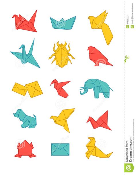 Colorful Origami - colorful origami icons pack stock photography image