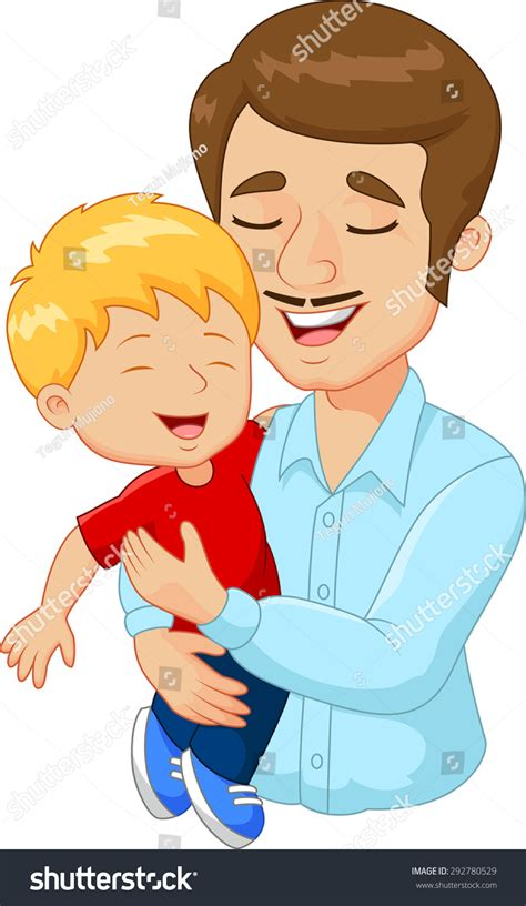 father and son cartoon cartoon happy family father holding his stock illustration