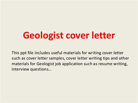 Cover Letter For Geologist Geologist Cover Letter