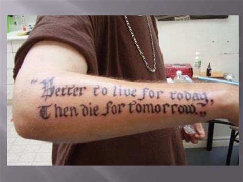tattoo fail never don t give up bad grammar tattoos