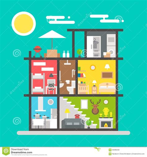 flat house interior design flat design of house interior stock vector illustration of storage home 56386230