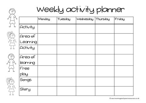 weekly activity calendar template weekly activity calendar template images